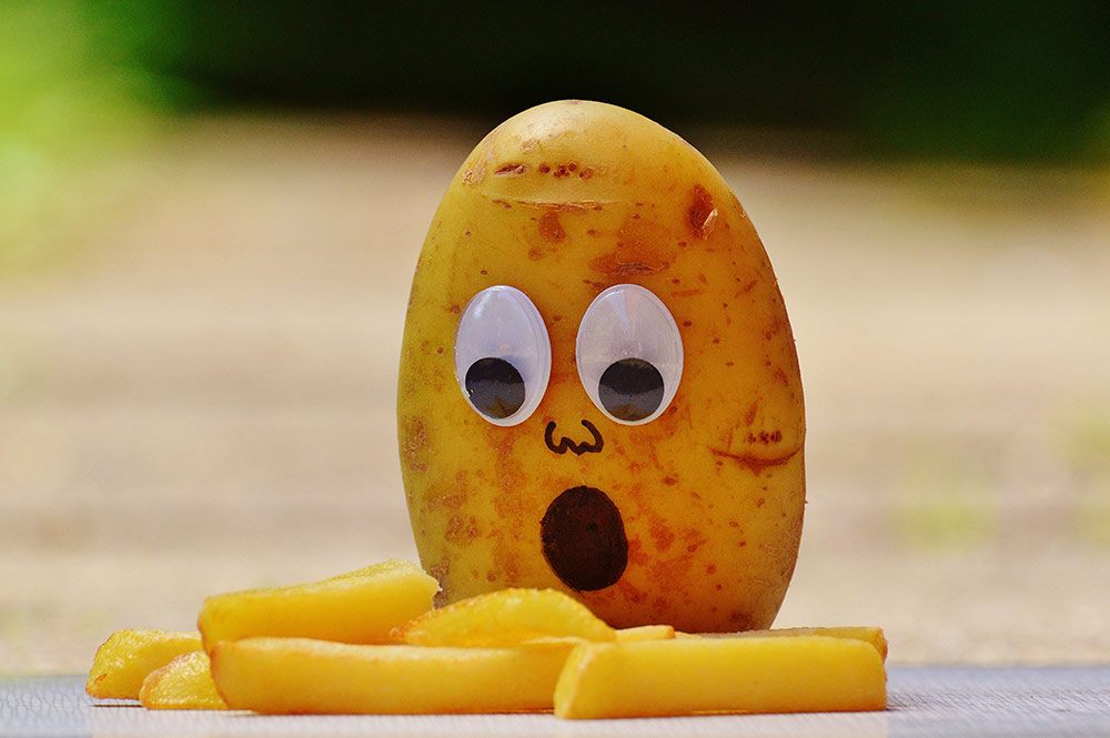Potato Gasping at French Fries with Googly Eyes